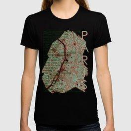 Paris city map pop T-shirt