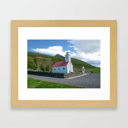 Small wooden church in Iceland Framed Art Print
