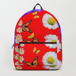 PURPLE PANSIES, WHITE DAISIES, MONARCH BUTTERFLIES RED ART Backpack