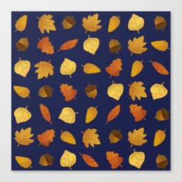 Leaf Lovers in Navy Canvas Print