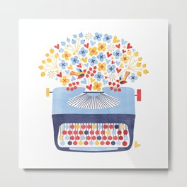 Poetry Typewriter Metal Print