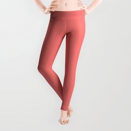 Coral Rose Solid Summer Party Color Leggings