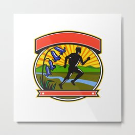 Trail Runner Bluebells Oval Icon Metal Print