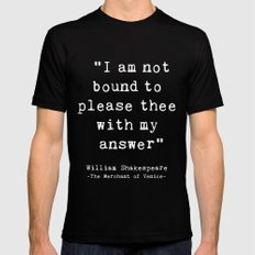 Shakespeare quote philosophy typography black white Mens Fitted Tee Black X-LARGE