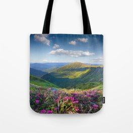 Floral Mountain Landscape Tote Bag