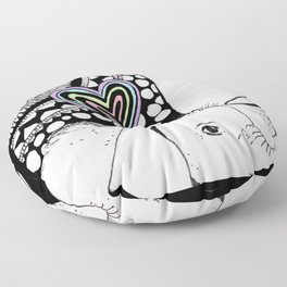 Mother And Baby Elephant With Heart  Floor Pillow