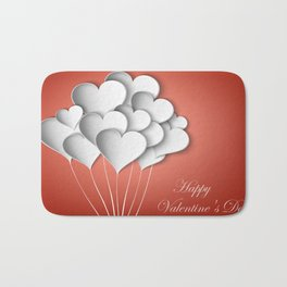 Balloons hearts from paper Valentine's Day Bath Mat