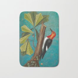 Red Headed Woodpecker with Oak, Natural History and Botanical collage Bath Mat