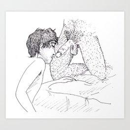 De Joelhos Art Print