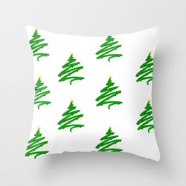 Minimalist Green Christmas Tree and Ornaments Doodle Pattern Throw Pillow