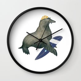 Cute & Funny Surfing Seal for Seal Lover Wall Clock
