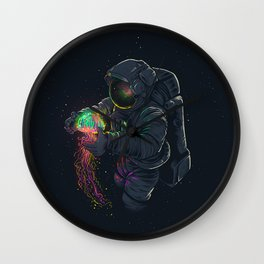 astronaut jellyfish space digital art Wall Clock