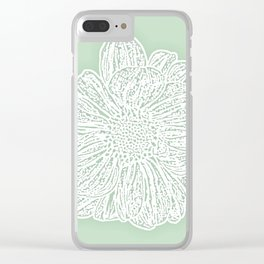Single White Dahlia Lino Cut, Soft Sage Green Clear iPhone Case
