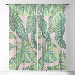 Jungle Leaves, Banana, Monstera Pink #society6 Sheer Curtain