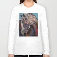 pony Long Sleeve T-shirts featuring Highland Pony by Michael Creese