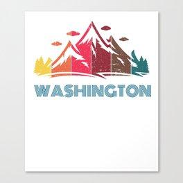 Retro Mountain Washington Design  for Men Women and Kids Canvas Print