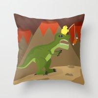 dinosaur Throw Pillows featuring dinosaur by Nir P