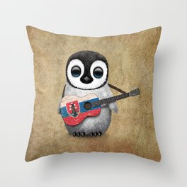 Baby Penguin Playing Slovakian Flag Guitar Throw Pillow
