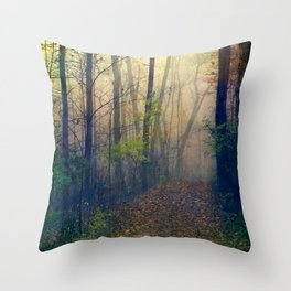 Wandering in a Foggy Woodland Throw Pillow