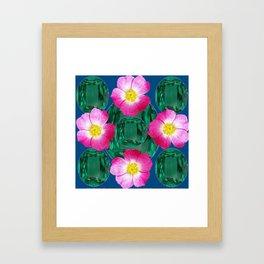 Contemporary GREEN GEMS MODERN PINK ROSE ART DESIGN Framed Art Print