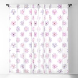 Pink Purple Rainbow Outline Cyberatomic Flowers Blackout Curtain