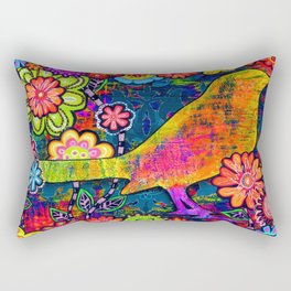 'SAFE HAVEN' Mixed Media Collage Pop Art Rectangular Pillow