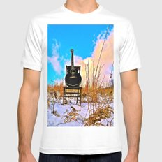 Winter Blues MEDIUM Mens Fitted Tee White