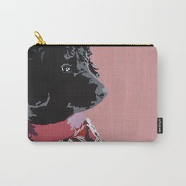 Black Standard Poodle in Pink Carry-All Pouch