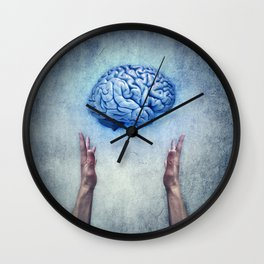 holding brain Wall Clock