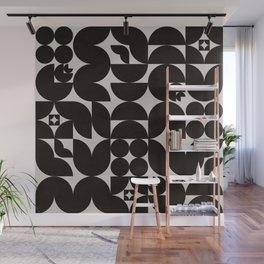 Black & White Mid Century Modern Pattern Wall Mural