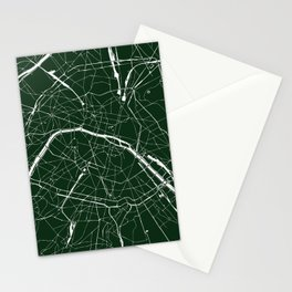Paris France Minimal Street Map - Forest Green Stationery Cards