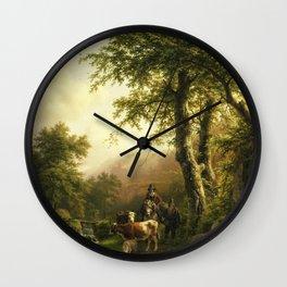 Barend Cornelis Koekkoek - Italianate landscape Wall Clock
