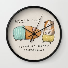 Guinea Pigs Wearing Baggy Pantaloons Wall Clock