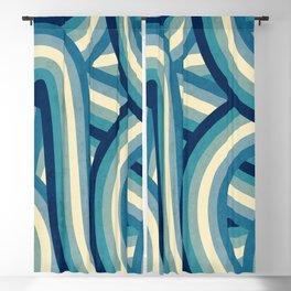 Vintage Faded 70's Style Blue Rainbow Stripes Blackout Curtain