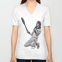 tennis V-neck T-shirts featuring Tennis Borg by Paul Nelson-Esch Art