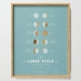 The Lunar Cycle • Phases of the Moon – Copper & Robin's Egg Blue Palette Serving Tray
