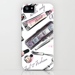 Fashion pattern with cosmetic in watercolor style iPhone Case
