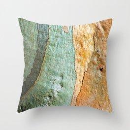 Eucalyptus Tree Bark Wood Abstract Colorful Texture Macro Throw Pillow