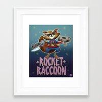 rocket raccoon Framed Art Prints featuring Rocket Raccoon by Alex Santaló