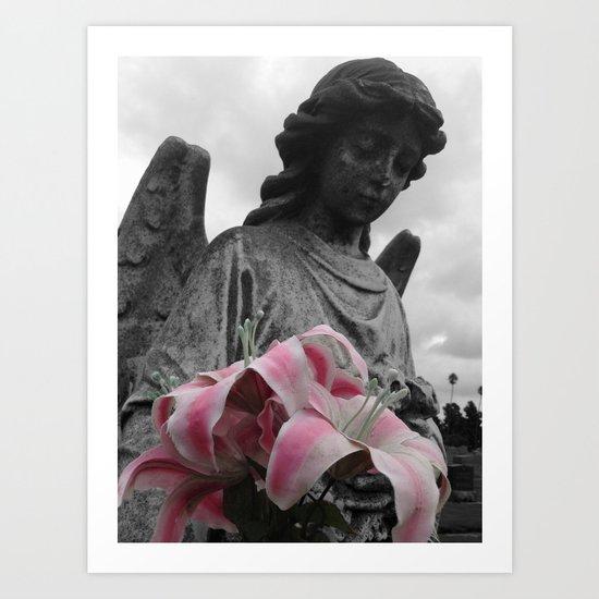 Angel Holding Flowers #2 Art Print
