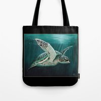 """biology Tote Bags featuring """"Moonlit"""" - Green Sea Turtle, Acrylic by Amber Marine"""