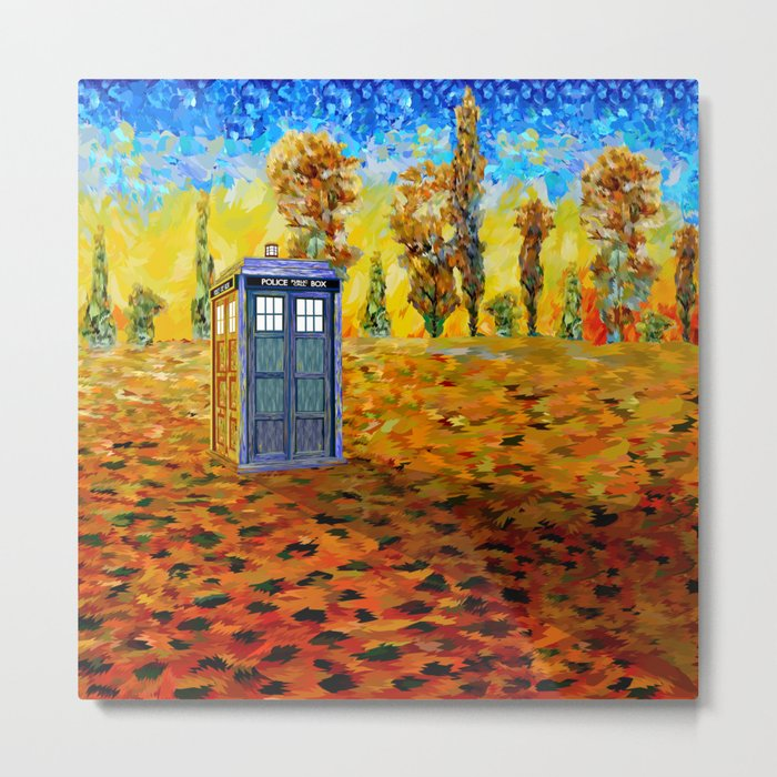 Blue phone Booth at Fall Grass Field Painting Metal Print