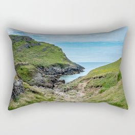 Footpath to Mewslade Bay on the Gower, Wales Rectangular Pillow