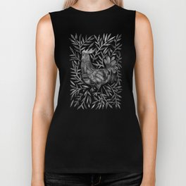 Le Coq – Watercolor Rooster with Black Leaves Biker Tank