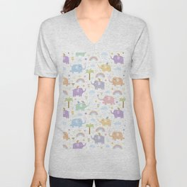 Summer blue gray violet mint green hand painted tropical elephants Unisex V-Neck