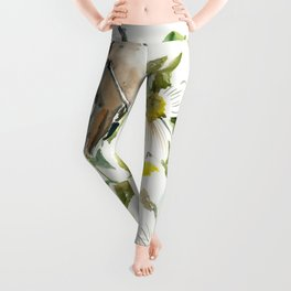 chickadee and dogwood, chickadee art design floral Leggings