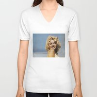 marylin monroe V-neck T-shirts featuring Marylin 1 by j.levent