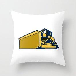 Bulldozer Low Angle Retro Throw Pillow