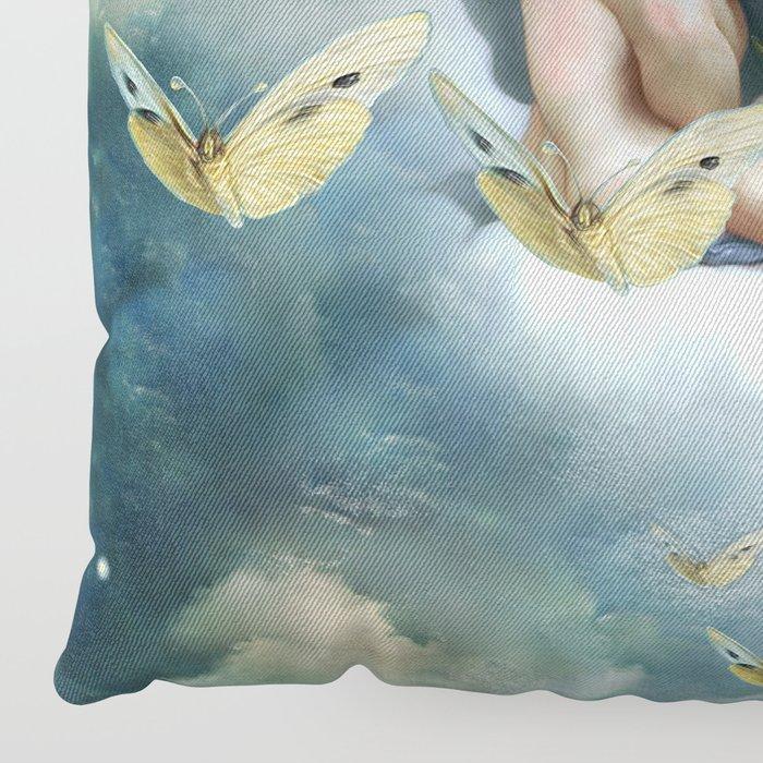 """""""Angels in love in heaven with butterflies"""" Floor Pillow"""
