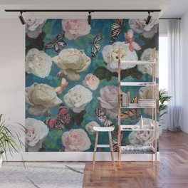 White Roses and Butterflies Wall Mural